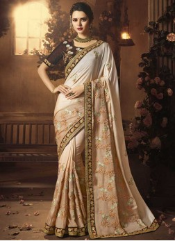 Girlish Patch Border Art Silk Cream Designer Traditional Saree