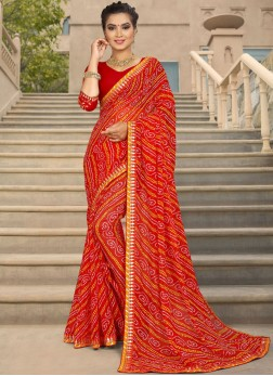 Girlish Red Party Trendy Saree