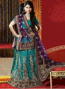 Girlish Resham Green Net Handwork Lehenga Choli