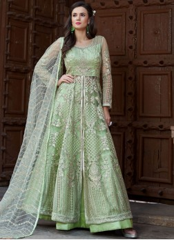 Girlish Sea Green Embroidered Long Choli Lehenga