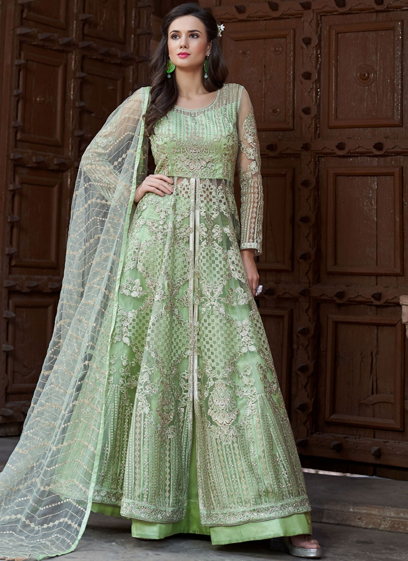 1ff68dded6 Girlish Sea Green Embroidered Long Choli Lehenga