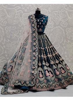 Stunning Teal Velvet Designer Bridal Lehenga Choli