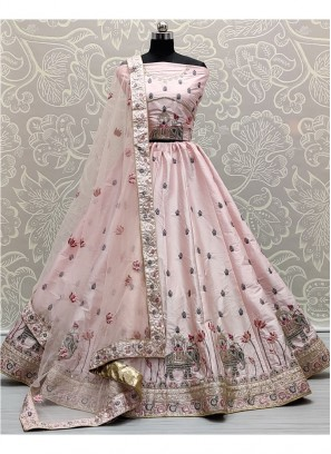 Glamorous Baby Pink Flaired Sober Work Wedding Girlish Lehenga Choli
