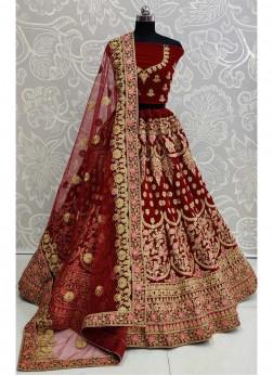 Glamorous Bridal Wear Embroidery Work On Lehenga Choli In Maroon
