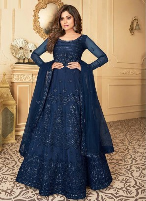 Glamorous Butterfly Net Navy Blue Embroidery Suit With Dupatta
