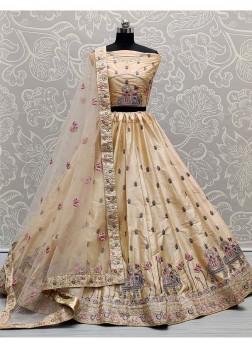 Glamour Bridal Wear Dori & Thread Work On Silk Lehenga Choli In Cream