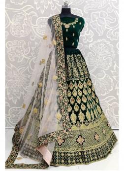 Gleaming Green Bridal Wear Thread Work On Velvet Lehenga Choli