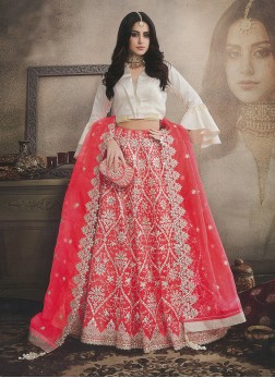 Gleaming Organza Embroidered Trendy Lehenga Choli