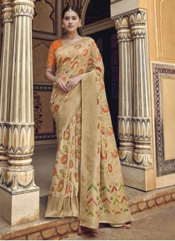 Gleaming Wheat & Orange Designer Pure Dola Silk Saree
