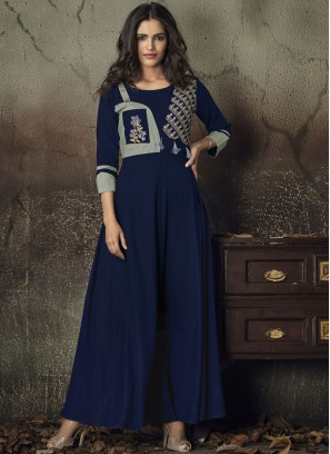 Glitzy Embroidered Rayon Party Wear Kurti