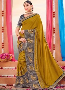 Glitzy Gold Art Silk Designer Saree