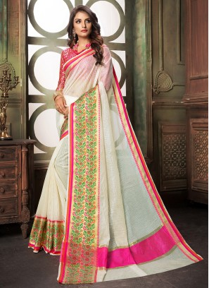 Glitzy White Weaving Cotton Silk Designer Saree