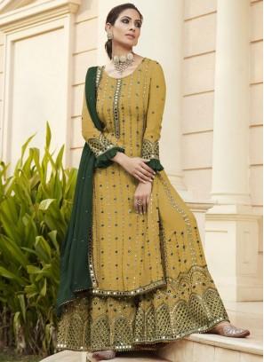 Glorious Mirror Work Designer Salwar Suit In Khaki - Green