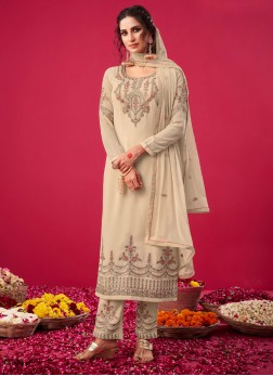 Glorious Multi Thread Work Pant Style Salwar Suit In Off White