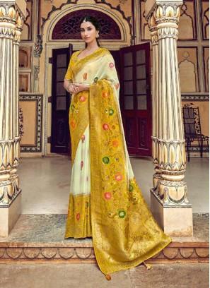 Glorious Off White & Yellow Designer Pure Dola Silk Saree