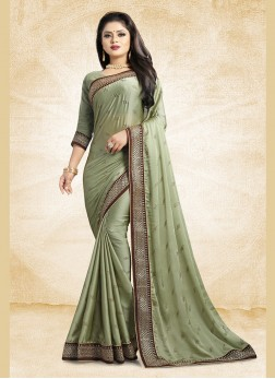 Glorious Patch Border Georgette Satin Classic Saree