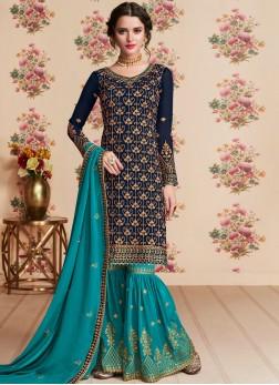 Glorious Resham Navy Blue Designer Pakistani Suit