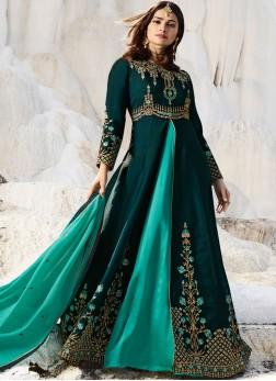Glorious Teal Mehndi Anarkali Salwar Suit