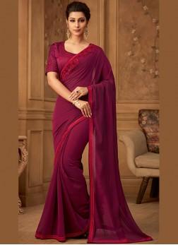 Glossy Art Silk Magenta Border Classic Saree