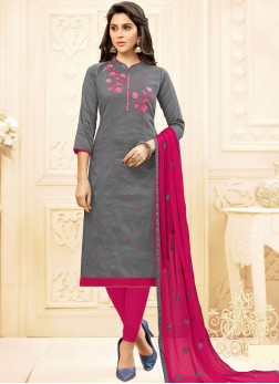 Glossy Cotton   Embroidered Salwar Kameez