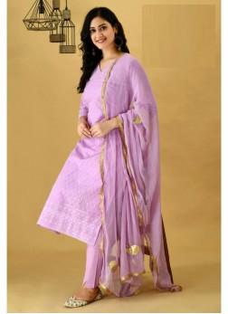 Glossy Mauve Cotton Kurti & Cotton Pant & Pure Chiffon Handwork Dupatta