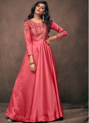 Glossy Pink Tafeta Silk Readymade Gown