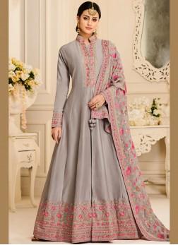 Glowing Grey Resham Anarkali Salwar Kameez