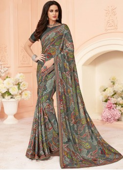 Glowing Multi Colour Printed Saree