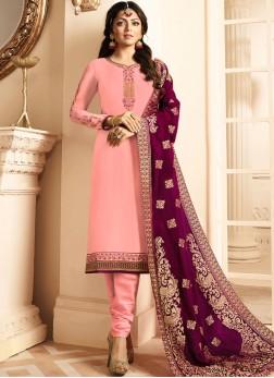Glowing Resham Satin Pink Churidar Designer Suit