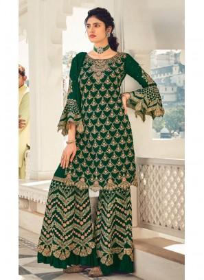 Gold Dori Designer Wedding Palazzo With Salwar Suit In Green