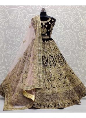 Gold Dori Embroidery Bridal Lehenga Choli In Dark Maroon