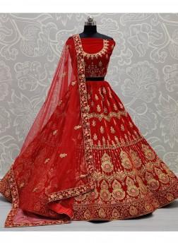 Gold Dori Embroidery Bridal Lehenga Choli In Red