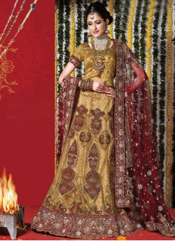 Gold Embroidered Designer Handwork Bridal Lehenga with dupatta and blouse