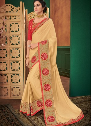 Gold Faux Georgette Patch Border Classic Designer Saree
