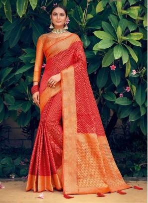 Gold Print Patola Silk Saree In Red