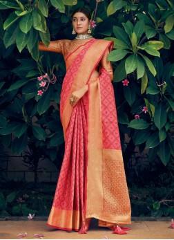 Gold Print Patola Silk Saree In Salmon Pink