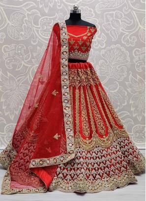 Gold & Silver Embroidery Zarkan Ghagra Choli In Red