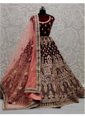 Gold Zari And Dori Embroidered Bridal Lehenga Choli In Maroon - Peach