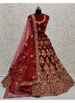 Gold Zari Embroidery Work Velvet Lehenga Choli In