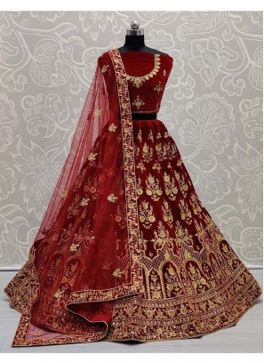 Gold Zari Embroidery Work Velvet Lehenga Choli In Maroon