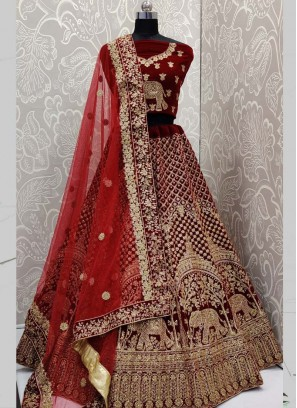 Golden Maroon Vivacious Bridal Lehenga With Blouse