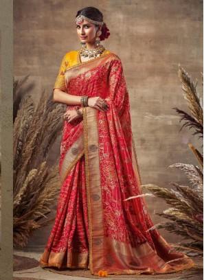 Good-Looking Red & Yellow Siroski Diamond Pallu  Pure Soft Silk