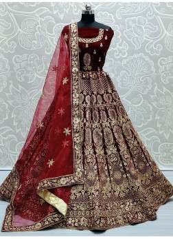 Goodly Maroon Zari and Thread Embroidery work Velvet Bridal Lehenga Choli