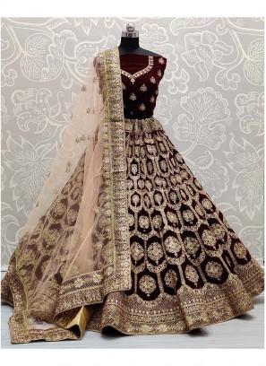 Gorgeous and cunning Embroidery Work Maroon Bridal Lehenga Choli