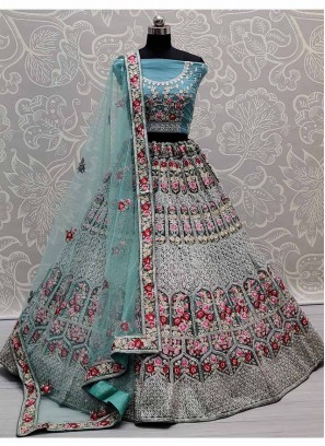 Gorgeous Flower Patterned & Multi Embroidered Flaired Lehenga Choli In Cadet Blue