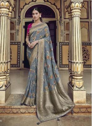 Gorgeous Gray & Rani Designer Pure Dola Silk Saree