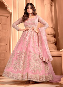Gorgeous Pink Butterfly Net Designer Gown With Dupatta