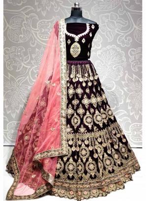 Gorgeous Wedding Wear Thread & Dori Work On Lehenga Choli In Purple - Pink
