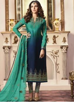 Gorgonize Embroidered Blue and Teal Salwar Kameez