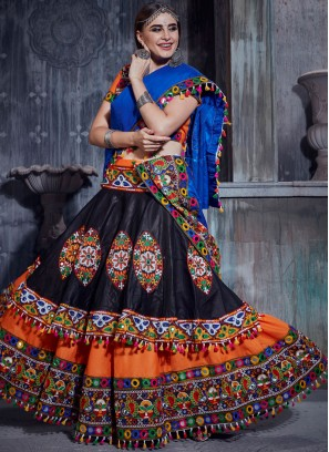 Graceful Black and Orange Cotton Trendy Designer Lehenga Choli